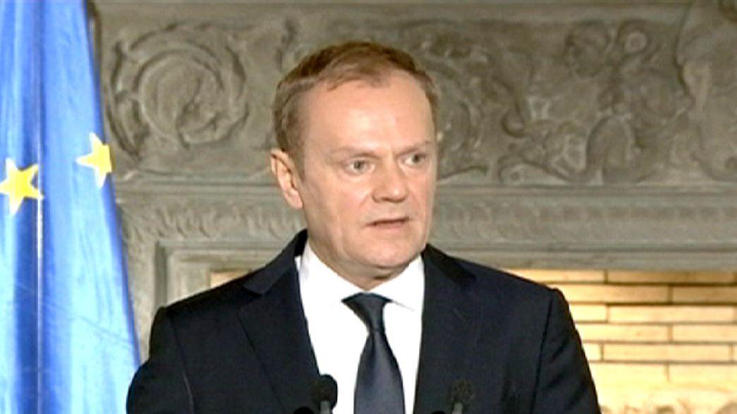 EU-Ratspräsident Tusk zu Gesprächen über Flüchtlingskrise in Athen und Ankara.