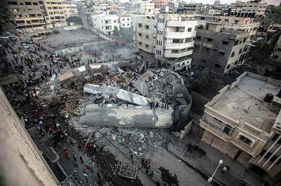 A general view of Said al-Mishal Cultural Center building destroyed in Israeli air strike in in Gaza on Aug. 9, 2018.