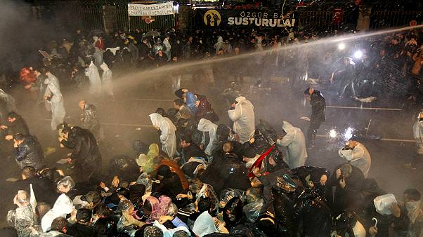 Turkish police turn water cannon and tear gas on protesters in Istanbul