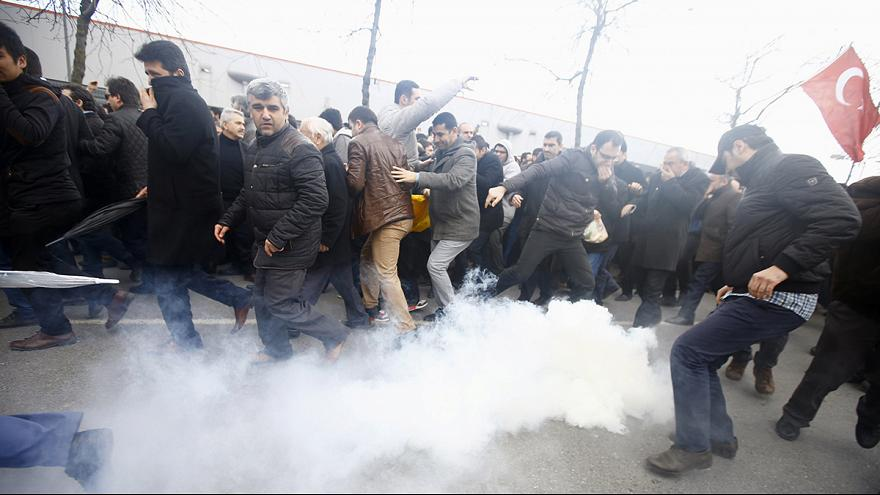 Turkish police fire tear gas amid protests over newspaper raid