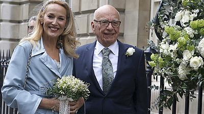 Newlyweds Murdoch and Hall hold star-studded blessing service in London