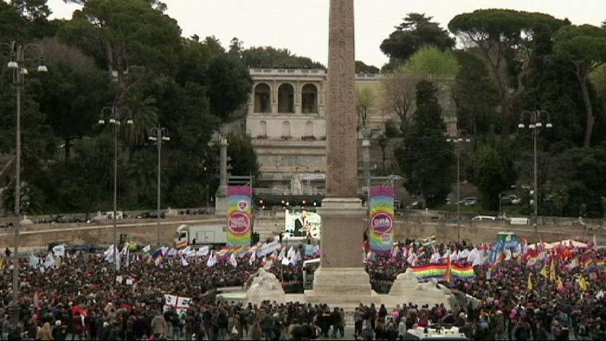 Tens of thousands protest for gay adoption rights in Rome