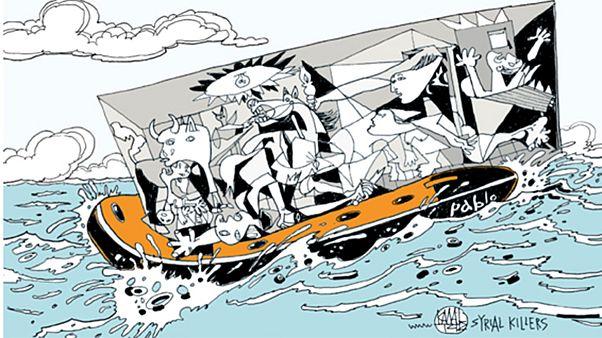Ελλάδα: Το «Μετέωρο Βήμα» των προσφύγων από 28 σκιτσογράφους