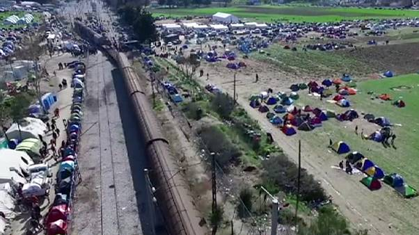 Drone footage of migrants stuck on Greek-Macedonian border