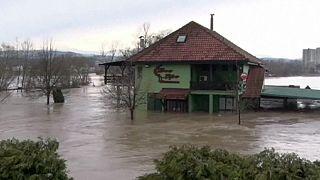 جاری شدن سیل در صربستان