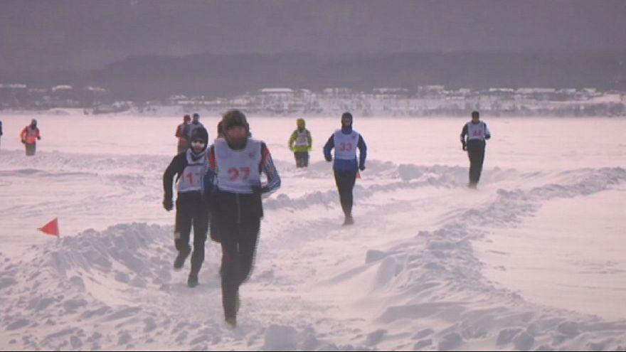 Baikal Ice Marathon: spectacular scenery in shivering Siberia