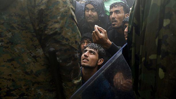 """Protests at Greek-Macedonian border as Balkans migrant route """"closed"""""""