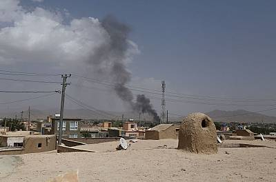 Smoke rises after a Taliban attack Ghazni.