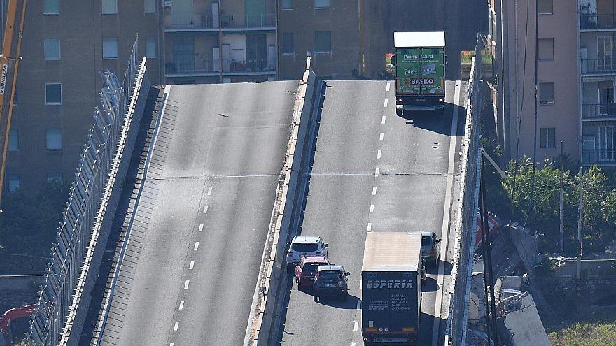 Image: Collapsed bridge in Genoa, Italy