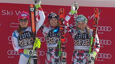 Super-G in Lenzerheide: Cornelia Hütter feiert ersten Weltcup-Sieg