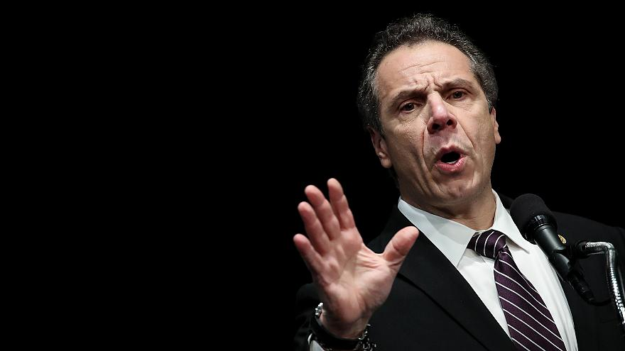 Image: New York Governor Andrew Cuomo speaks at a healthcare union rally in