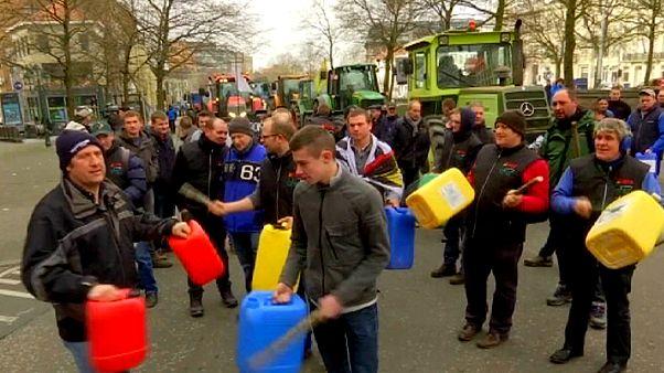 Bauern demonstrieren in Brüssel gegen Milchpreise