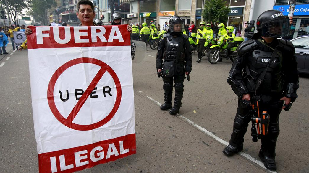 Colombie: manifestation des taxis contre Uber