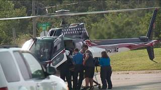 Image: Medical helicopter on scene at Luther High School