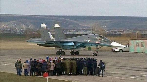 Российские военные летчики возвращаются из Сирии
