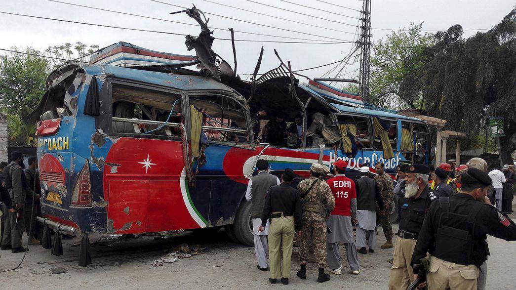 At least 16 killed in bomb blast on board a bus in Pakistan
