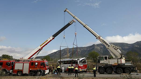 Identification ' taking time' of victims in fatal bus crash in Spain