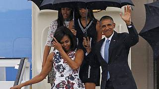 Президент США Барак Обама с семьей на Кубе