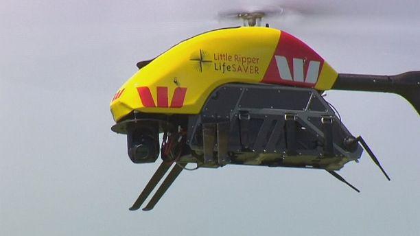 Um drone salva-vidas em teste na costa australiana