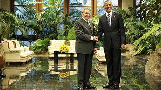 Recepción de Raúl Castro a Barack Obama en el Palacio de la Revolución de Cuba