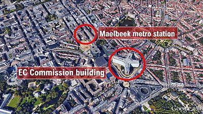 Mapa dos atentados em Bruxelas