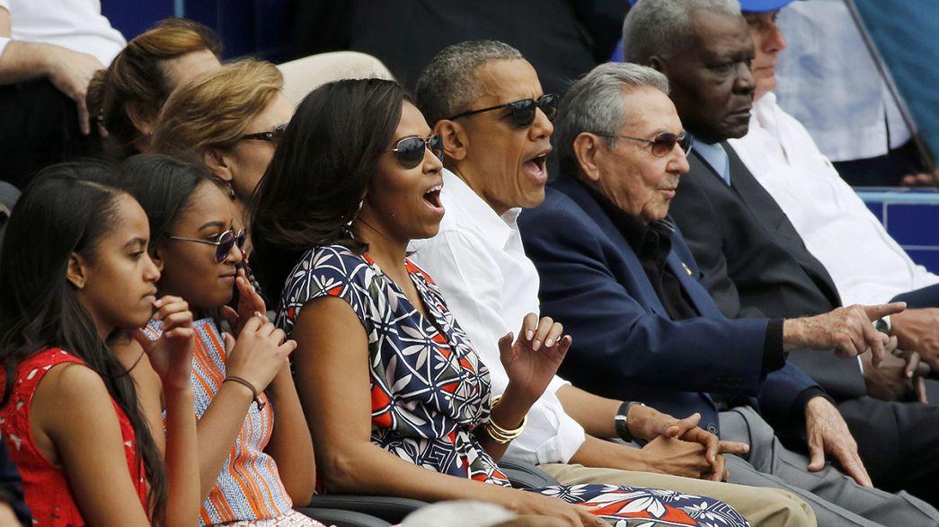 Polit-Baseball mit Castro und Obama