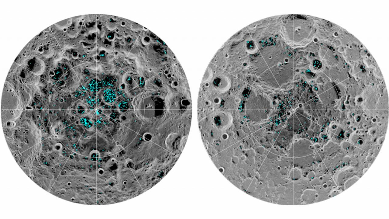 The distribution of surface ice at the Moon's south pole (left) and north p