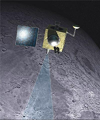 The discovery was based on observational data obtained by a NASA instrument aboard India\'s Chandrayaan-1 spacecraft (shown here in an illustration).