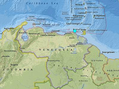 The U.S. Geological Survey said the quake was registered at 5:31 p.m. ET about 12½ miles north-northwest of Yaguaraparo on the northeast tip of Venezuela.