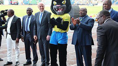 Omar Bongo, Infantino, Hayatou unveil 'Samba,' AFCON 2017 Mascot