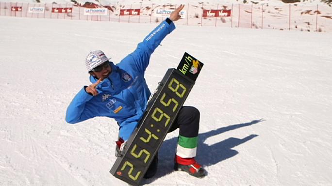Video: Italian duo break speed skiing world records