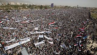 Protests in Yemen against Saudi-led coalition on air strikes anniversary