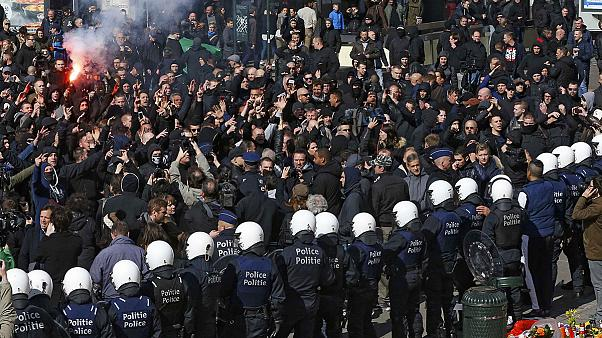 Brussels riot police use water cannon to break up protest