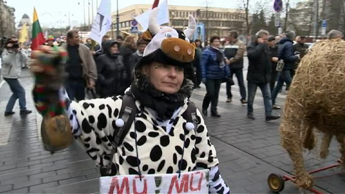 Protest over milk prices in Lithuania