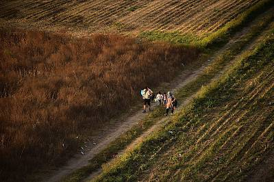 A migrant family walks through a field in Croatia in 2015.