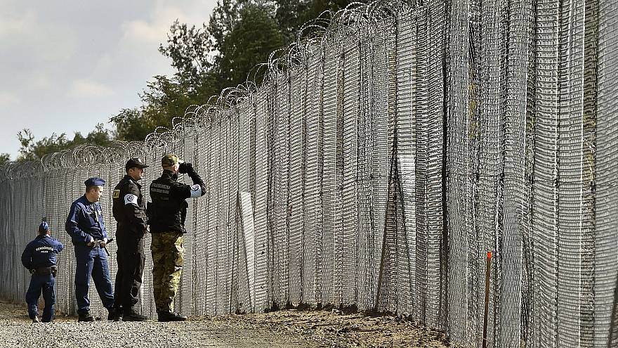 Image: Police officers and border guards patrol a fence at the Hungarian-Se