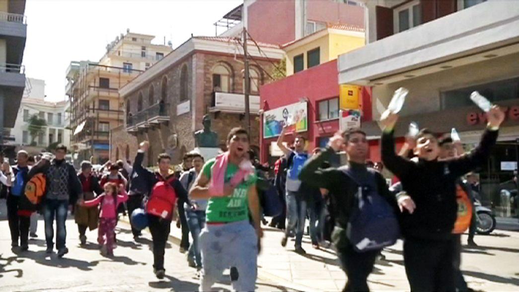 Suriyeli göçmenler Sakız Adası'nda eylem yaptı