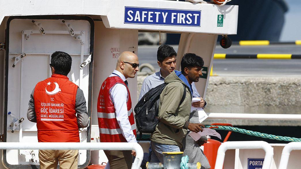 Migrants arrive in Turkey after being sent back under EU deal