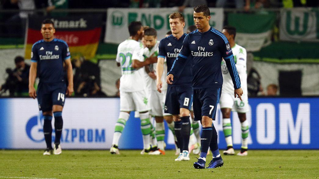 Derrota del Real Madrid ante el Wolfsburgo y empate entre el París Saint-Germain y el Manchester City en la Liga de Campeones