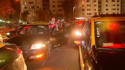 Santiago, Chile comes to standstill in taxi protest against Uber