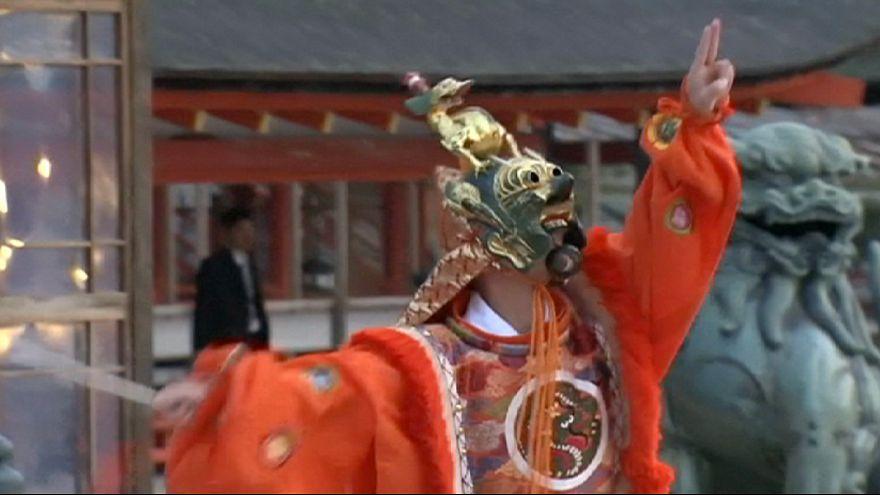 Danza ceremonial en el Santuario Itsukushima