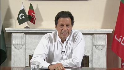 Cricket star-turned-politician Imran Khan, chairman of Pakistan Tehreek-e-Insaf (PTI), gives a speech as he declares victory in the general election in Islamabad, Pakistan on July 26, 2018.