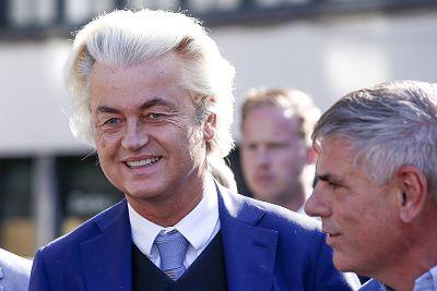 Geert Wilders, left, speaks to the media in Antwerp, Belgium, on Sept. 2, 2018.
