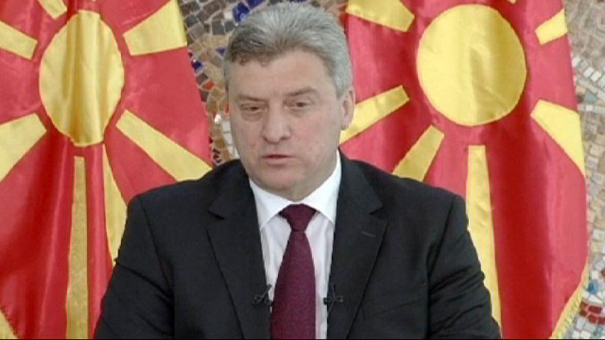 Des manifestants macédoniens réclament la démission du président