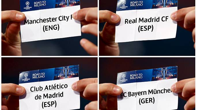 قرعة رابطة الأبطال: ريال يواجه مانشيستر سيتي ... وأتليتيكو يتقابل مع بايرن ميونيخ