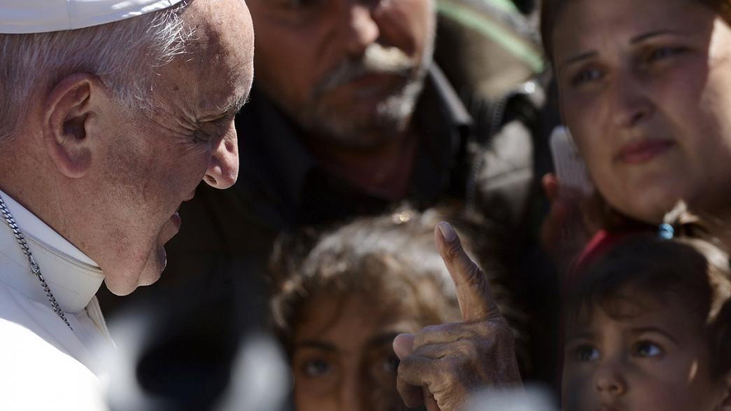 Pope Francis returns to Rome, leaving behind protests in Lesbos