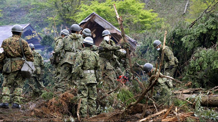 The hunt goes on for people missing following successive quakes in southern Japan