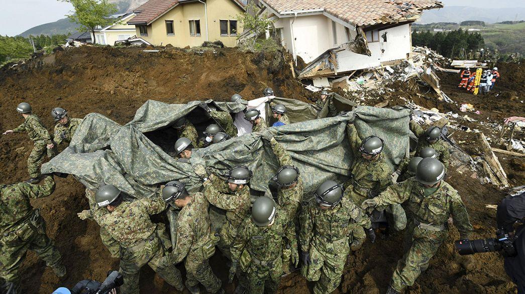 Fuertes temblores continúan sacudiendo Kumamoto y Oita, en el suroeste de Japón