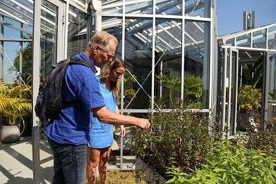 Veerle Donders (right) with the Amsterdam hotel Zoku gives ecologist Geert Timmermans a tour of the company\'s rooftop garden.