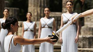 Olympic torch lit for Rio Games